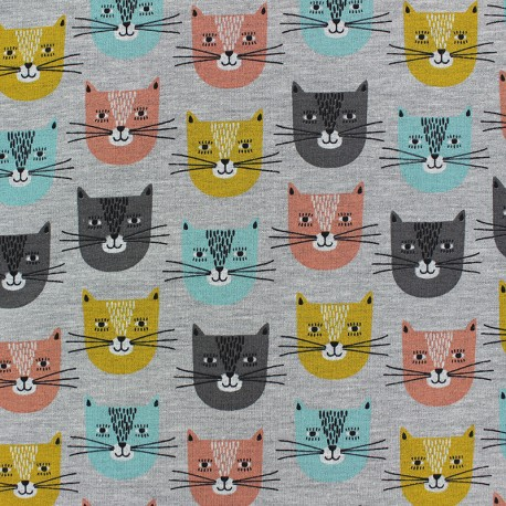 Poppy French Terry fabric - grey Chat-bada bada x 10cm