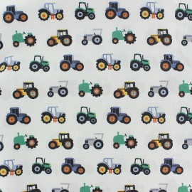 Scratched cotton fabric by Poppy - white Tractor x 10cm
