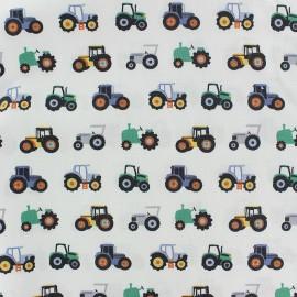 Tissu coton gratté Poppy Tracteur - blanc x 10cm