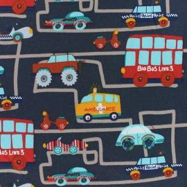 Cotton Jersey fabric - grey City Traffic x 10cm
