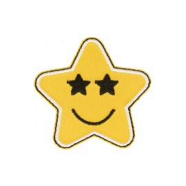 Smiley Star Iron-On Patch - A