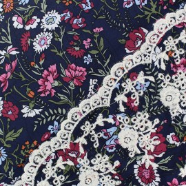 Scalloped embroidered viscose fabric - navy blue Amélia x 10 cm