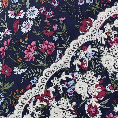 Scalloped embroidered viscose fabric - navy blue Amélia x 10 cm