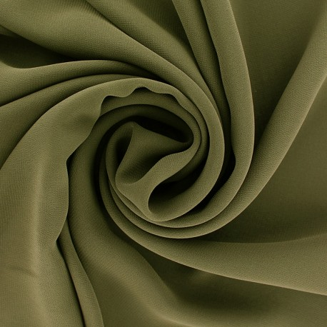 Crepe Muslin Fabric - Khaki green x 50cm