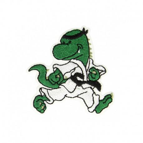 Dino Karateka Iron-On Patch - Green