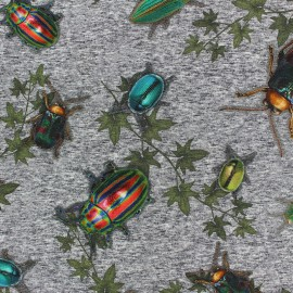 Cotton Jersey fabric - Grey Bugs x 10cm