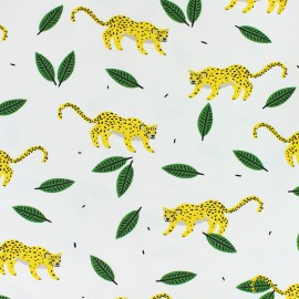 JERSEY FABRIC - white Hide and seek in the jungle x 10CM