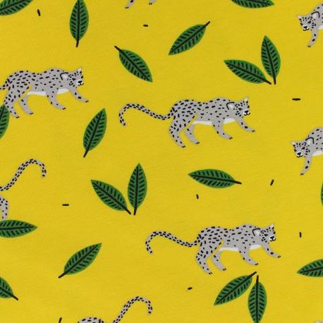 Tissu Jersey Cache-cache dans la jungle - jaune x 10cm