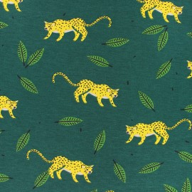 JERSEY FABRIC - green Hide and seek in the jungle x 10CM