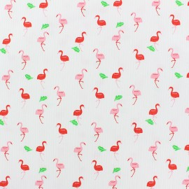 stitched cotton fabric - white Flamingo x 10cm