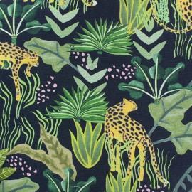 Cotton canvas fabric - grey Leopard x 20cm