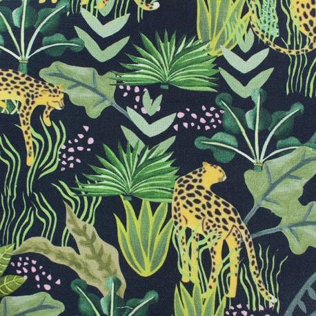 Tissu Toile de coton Léopard - gris x 20cm