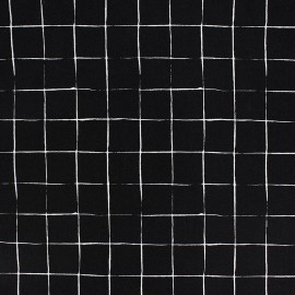 Poplin Cotton fabric - Black Carreaux x 10cm