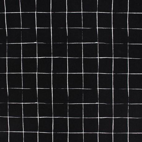 Tissu popeline Stenzo Carreaux - noir x 10cm
