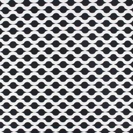 Tissu popeline Stenzo Croisette - blanc/noir x 10cm