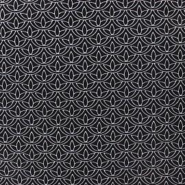 Poplin Cotton fabric - white Lotus x 10cm