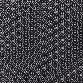 Tissu popeline Stenzo Lotus - blanc/noir x 10cm