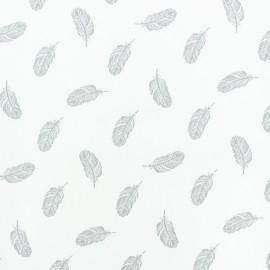 Tissu popeline Stenzo Plumette - gris x 10cm