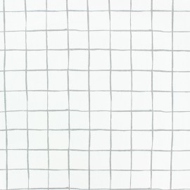 Tissu popeline Stenzo Carreaux - gris x 10cm