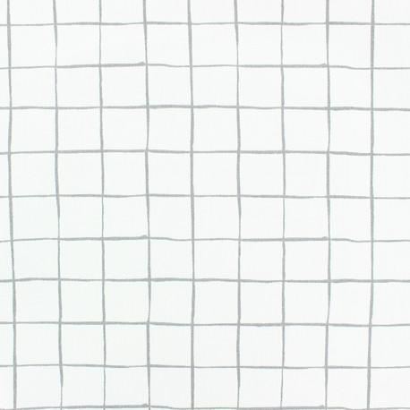 Poplin Cotton fabric - Grey Carreaux x 10cm