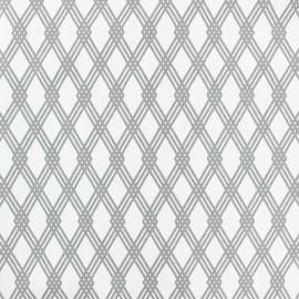 Tissu popeline Stenzo Losange - blanc/gris x 10cm