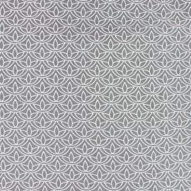 Tissu popeline Stenzo Lotus - blanc/gris x 10cm