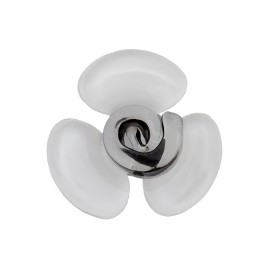 20 mm Glass Aspect Polyester Button - White Flora