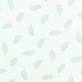 Tissu popeline Stenzo Plumette - vert x 10cm