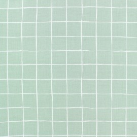 Poplin Cotton fabric - Green Carreaux x 10cm