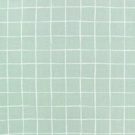 Tissu popeline Stenzo Carreaux - vert x 10cm