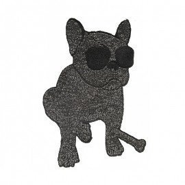 Rock Star Bulldog Sewing Patch - Black