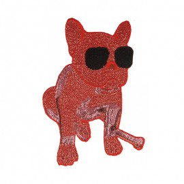 Rock Star Bulldog Sewing Patch - Red