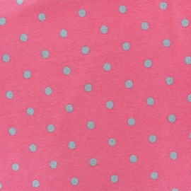 Stenzo Jersey cotton fabric - white Silver dots x 10cm