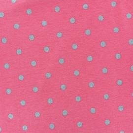 Tissu coton jersey Stenzo Pois argentés - blanc x 10cm