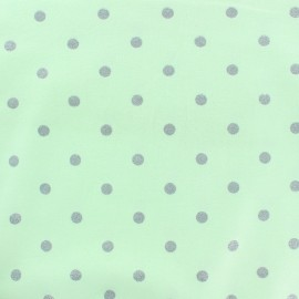 Stenzo Jersey cotton fabric - almond green Silver dots x 10cm
