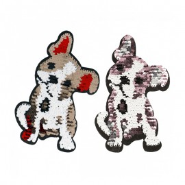 Sequin Baby Bulldog Iron-On Patch - Reversible
