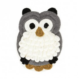 XL Woolen Owl Sewing Patch - Grey