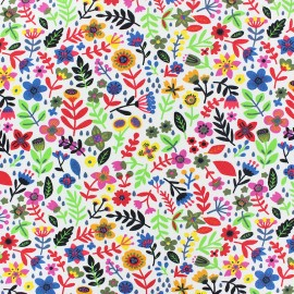 Stenzo Jersey cotton fabric - white Small flower x 10cm