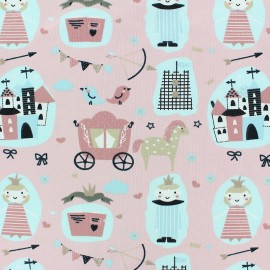 Stenzo Jersey cotton fabric - pink Medieval life x 10cm