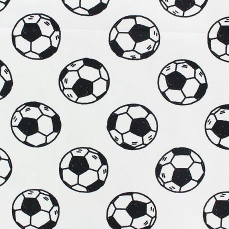 Stenzo Jersey cotton fabric - white Football x 10cm