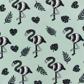 Stenzo Jersey cotton fabric - Green Flamingo x 10cm