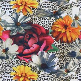 Tissu coton jersey Stenzo flower and Leopard - beige x 10cm