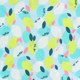 Tissu Viscose Citron - bleu ciel x 10cm