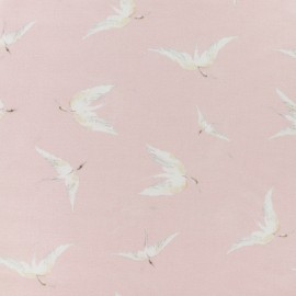 Flowery Viscose Fabric - Light pink delicate crane x 10cm