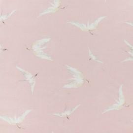 Flowery Viscose Fabric - Light pink delicate crane x 10cm