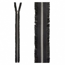 Open End Fringed Metal Zipper - Black
