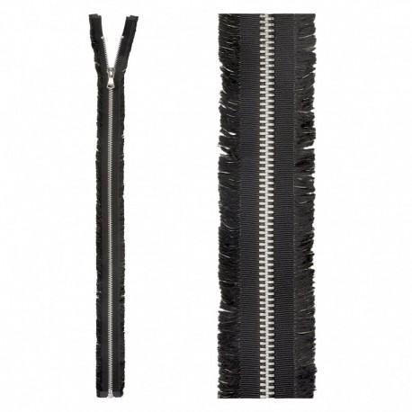 Open End Fringed Metal Zipper - Black