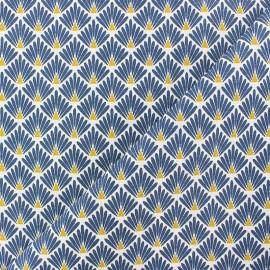 Cretonne cotton Fabric Ecailles dorées - petrol blue x 10cm