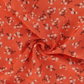 Tissu Viscose texturé petite fleur - rouge x 10cm