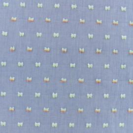 Tissu coton Chambray plumetis Zélie - bleu x 10cm